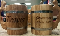 wooden beer mugs