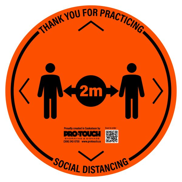 "Social Distancing Decal - 16"" x 16"" Orange"