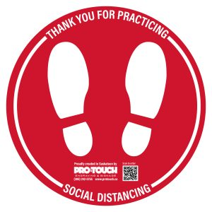 "Social Distancing Decal - 16"" x 16"" Red"