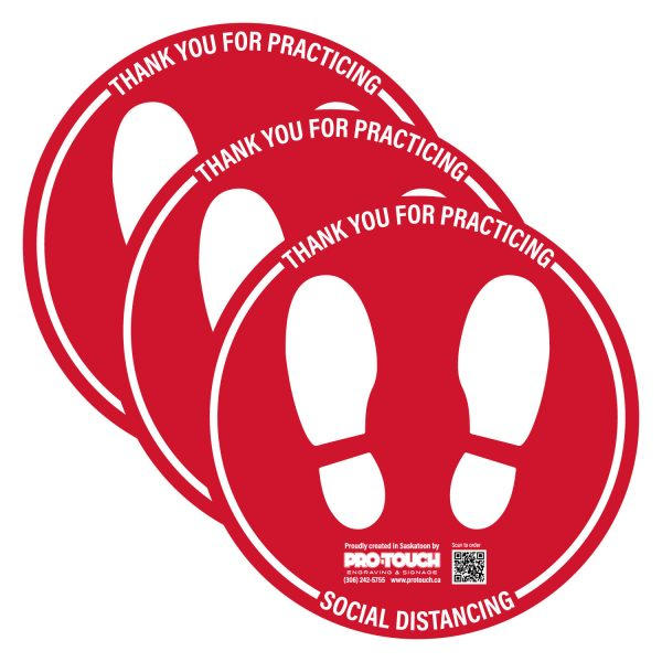 """3 PACK - Social Distancing Decal - 16"""" x 16"""" Red"""