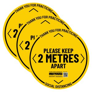 "3 PACK - Social Distancing Decal - 16"" x 16"" Yellow"
