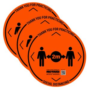 "3 PACK - Social Distancing Decal - 16"" x 16"" Orange"
